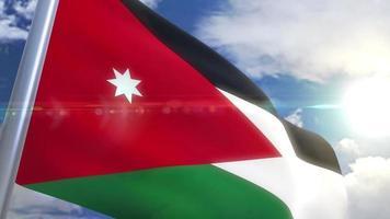 Bandeira da Jordânia com animação