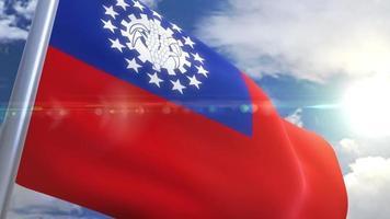 acenando a bandeira da animação de myanmar