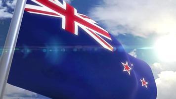 bandera ondeante de nueva zelanda animación video