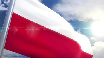 Waving flag of Poland Animation