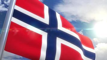 agitando bandeira da noruega animação