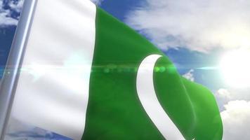 bandera ondeante de pakistán animación