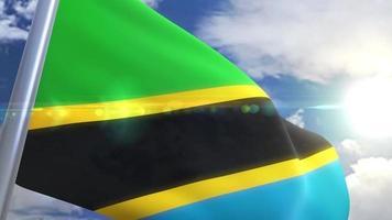 agitando bandeira da tanzânia animação