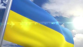 agitando bandeira da ucrânia animação
