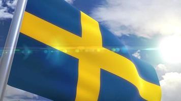 Bandeira da Suécia com animação