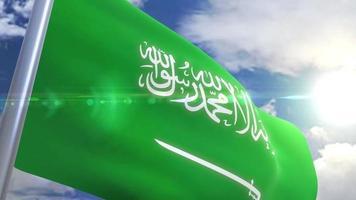 bandera ondeante de arabia saudita animación
