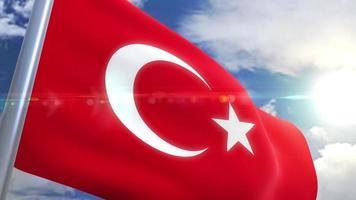 bandera ondeante de turquía animación