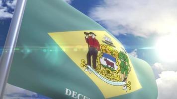 agitando bandeira do estado de delaware eua
