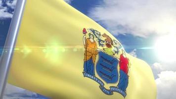 agitando bandeira do estado de nova jersey, EUA