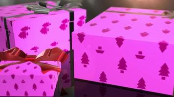 animación de regalo rosa de cumpleaños de navidad
