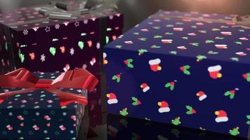 animación de regalo azul de cumpleaños de navidad