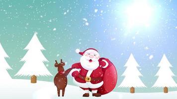 Weihnachtsbanner-Animation für Weihnachtsmänner und Rentiere