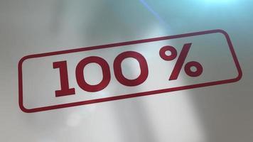 carimbo de rupper animado 3d carimbando a palavra 100 por cento em um subterrâneo refletivo