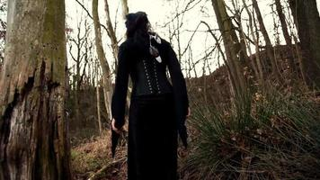 mulher viking caminhando pela floresta de outono video