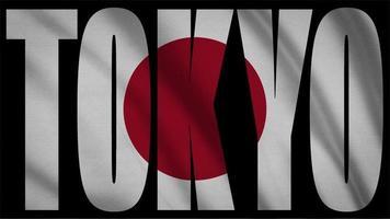 bandeira do japão com máscara tokyo video