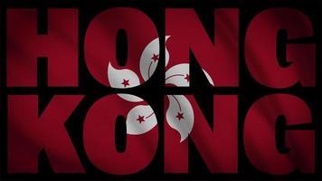 bandeira de hong kong com máscara de hong kong video