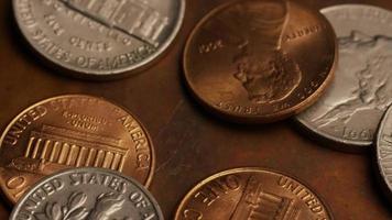 giro estoque metragem tiro de moedas monetárias americanas - dinheiro 0293