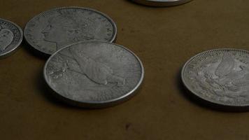 roterend voorraadbeeldschot van antieke Amerikaanse muntstukken - geld 0063