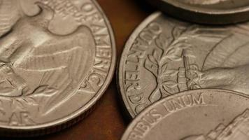 Rotating stock footage shot of American monetary coins - MONEY 0265