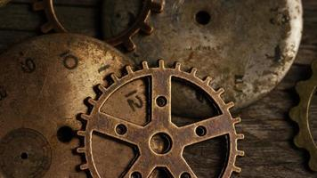 Rotating stock footage shot of antique and weathered watch faces - WATCH FACES 104