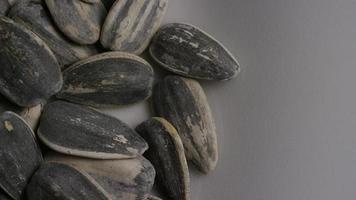 ripresa cinematografica e rotante di semi di girasole su una superficie bianca - semi di girasole 006 video