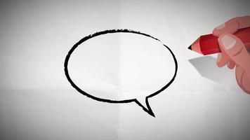burbuja de discurso de rastreo de mano de empresario video