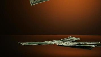 notas americanas de $ 100 caindo em uma superfície refletiva - dinheiro fantasma 007