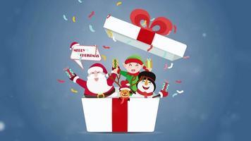 caixa de presente branca com fita vermelha abrindo com uma boneca no natal com um sorriso brilhante no dia da festa