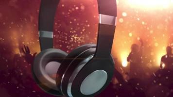 fones de ouvido giratórios com fundo laranja de festa