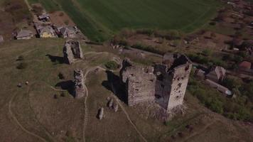 Drone flying from old castle ruins in 4K
