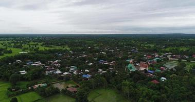 Aerial view small village thailand.