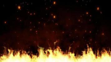 fogo queimando fagulhas subindo fundo preto video