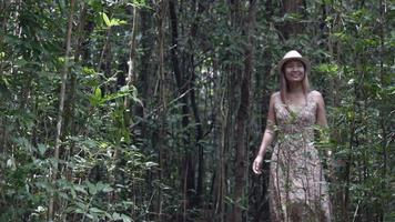 Women walking relax at the forest. video
