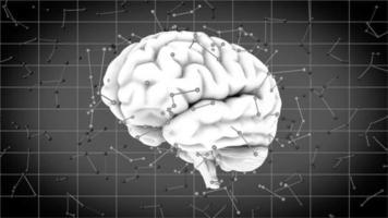 ein rotierendes menschliches Gehirn mit futuristischen Synapsen-Neurotransmittern
