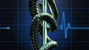 o símbolo médico do caduceu girando sobre o pulso de um monitor cardíaco eletrônico