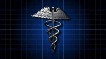 o símbolo médico do caduceu girando em uma grade azul