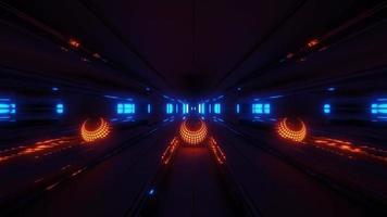 Sphère rougeoyante orange à l'intérieur d'un tunnel spatial video