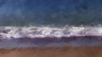 Impressionistic Ocean Waves Roll into Shore