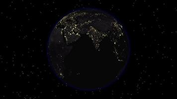 The Dark Side of the Earth with City Lights Visible video