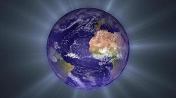 The Planet Earth Rotates with Light Effects
