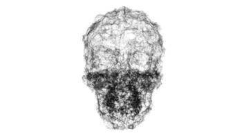 A Spooky Wireframe Skull Undulates