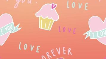 Happy Valentine's day with heart and cupcake background video