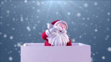 Weihnachtsmann auf Geschenkbox. video