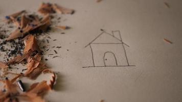 desenho de uma casa em papel branco