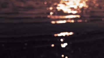 Superficie de agua dorada borrosa al atardecer video