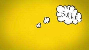 Venta en nube de pensamiento contra pizarra amarilla