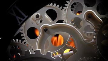 fuego y engranajes de reloj retro abstracto
