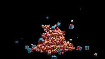 árbol de navidad hecho de bolas