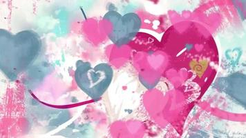 Watercolor Splash with Hearts