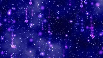 corações rosa caindo lentamente em um fundo roxo-azulado